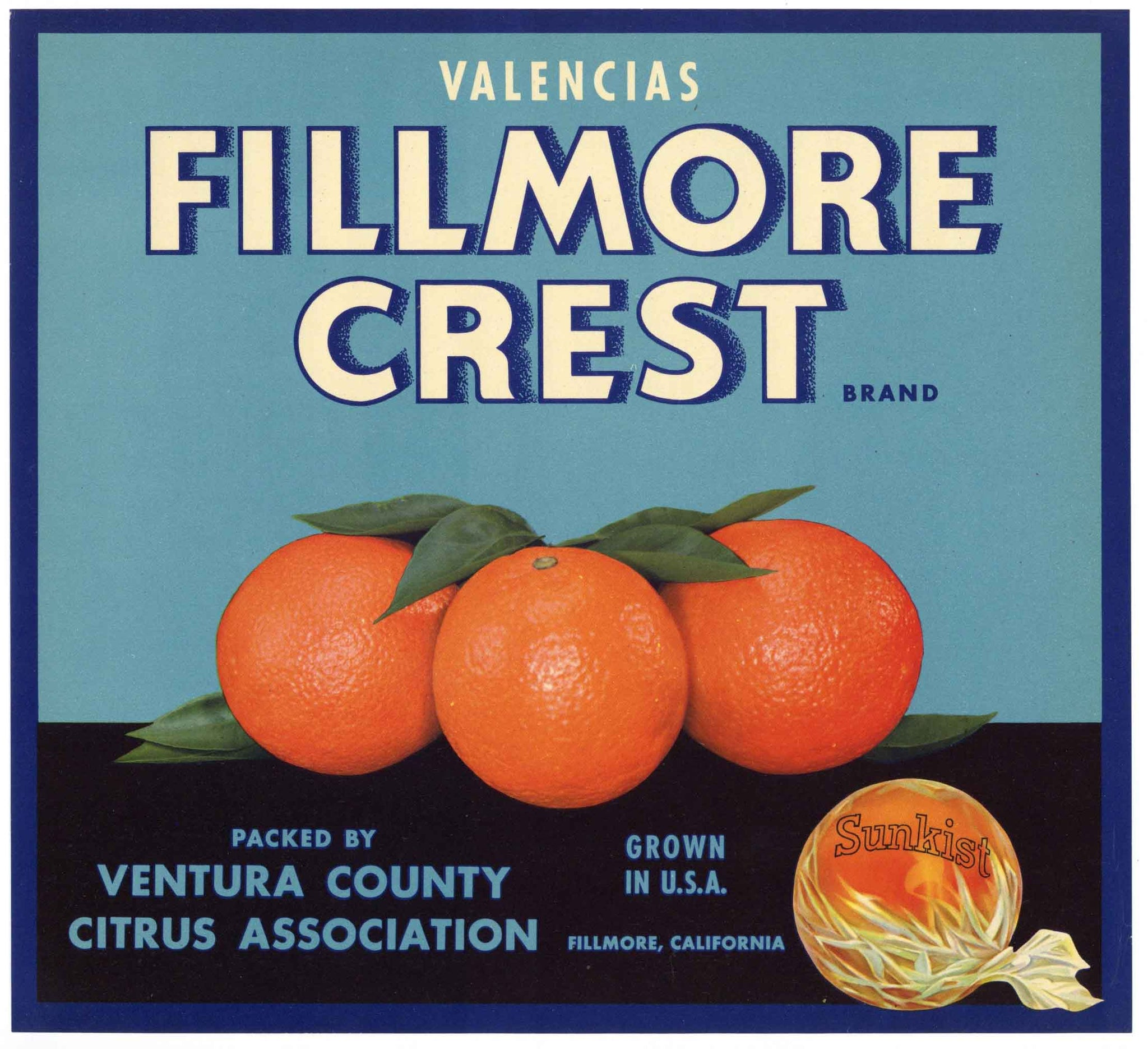 Fillmore Crest Brand Vintage Ventura County Orange Crate Label