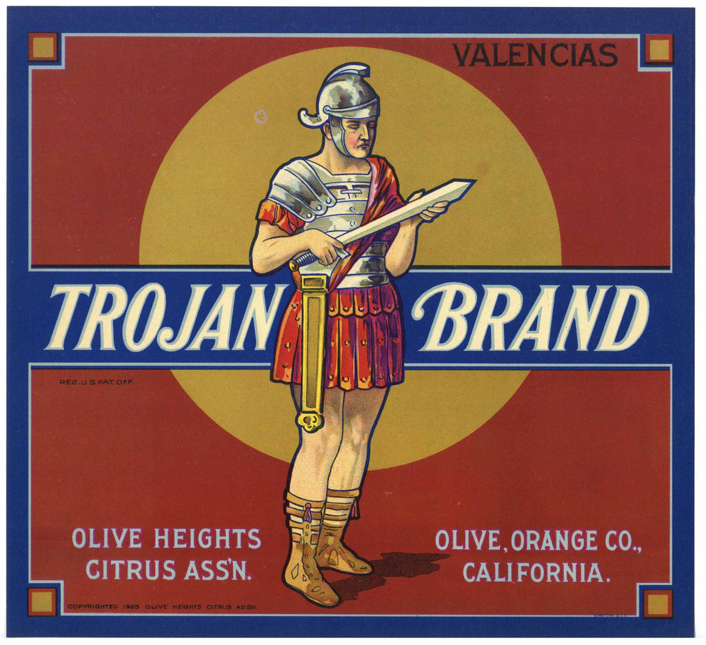 Trojan Brand Vintage Olive Heights Orange Crate Label