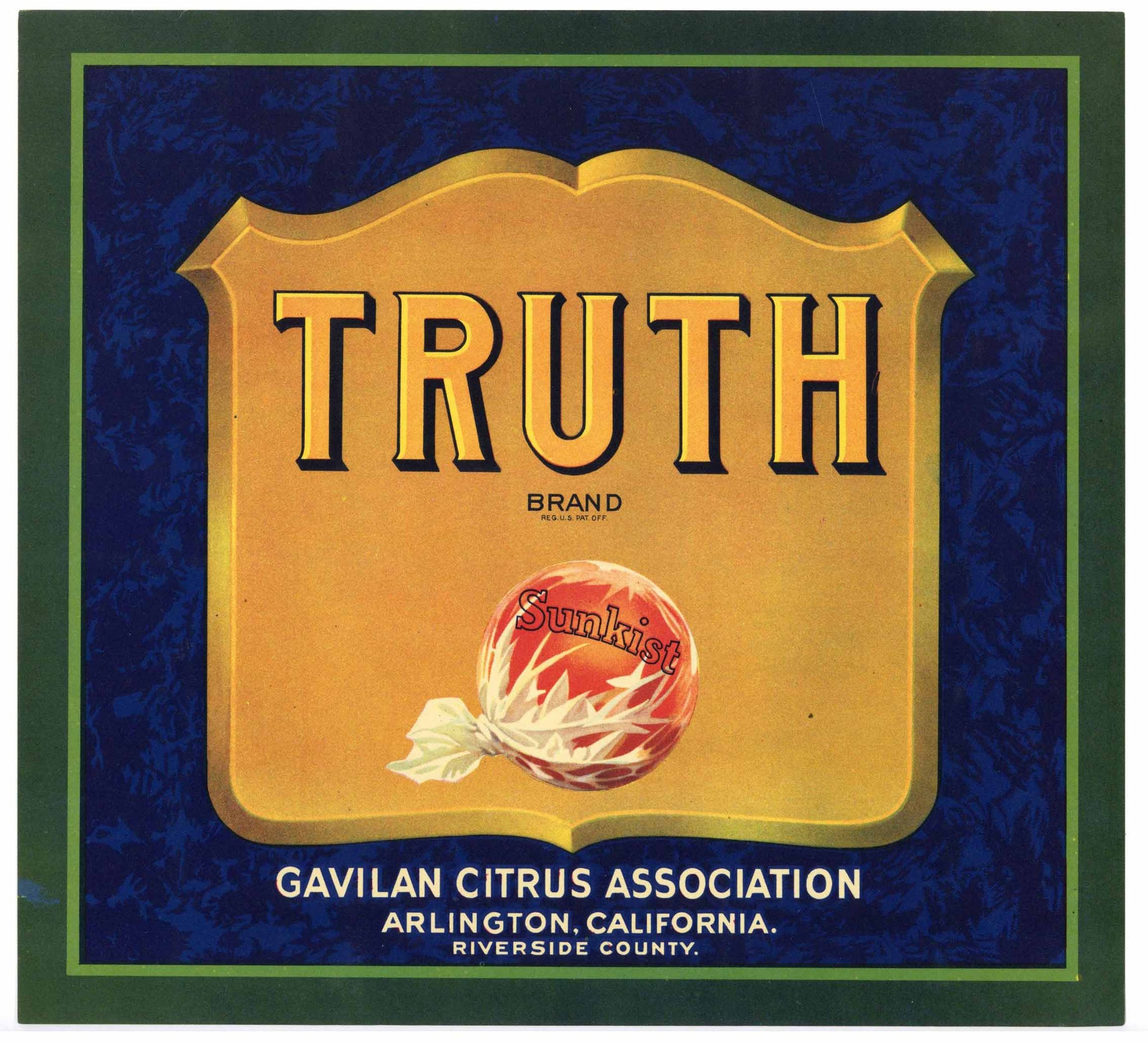 Truth Brand Vintage Arlington Orange Crate Label