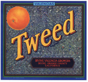 Tweed Brand Vintage Irvine Orange Crate Label