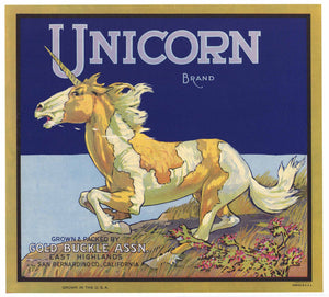 Unicorn Brand Vintage East Highlands Orange Crate Label