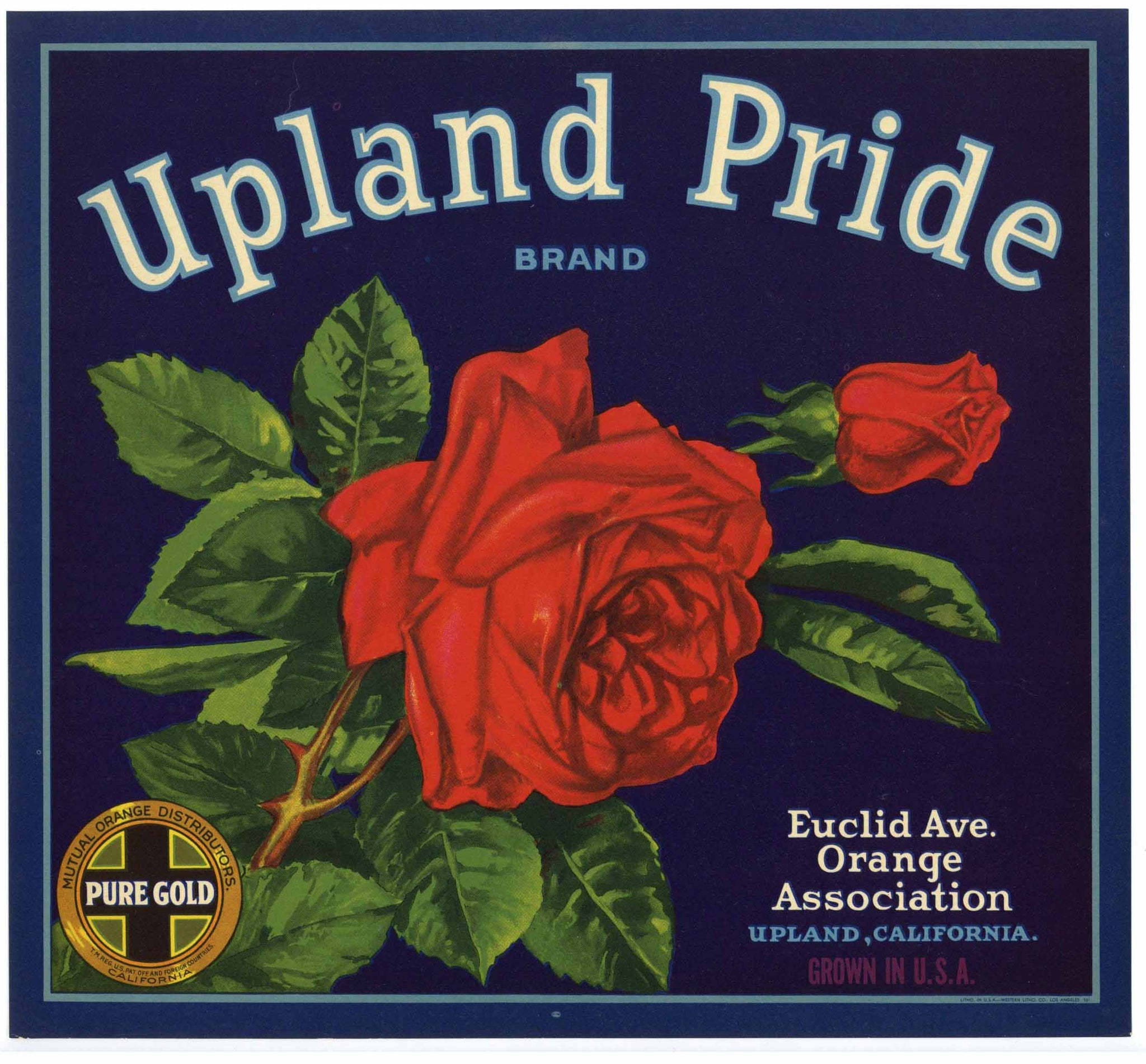 Upland Pride Brand Vintage Orange Crate Label