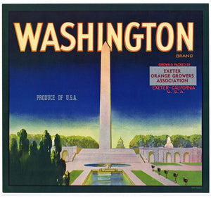 Washington Brand Vintage Orange Crate Label, op