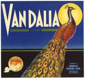 Vandalia Brand Vintage Orange Crate Label, n
