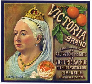Victoria Brand Vintage Riverside Orange Crate Label