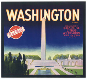 Washington Brand Vintage Orange Crate Label, red ball