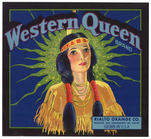 Western Queen Brand Vintage Rialto Orange Crate Label