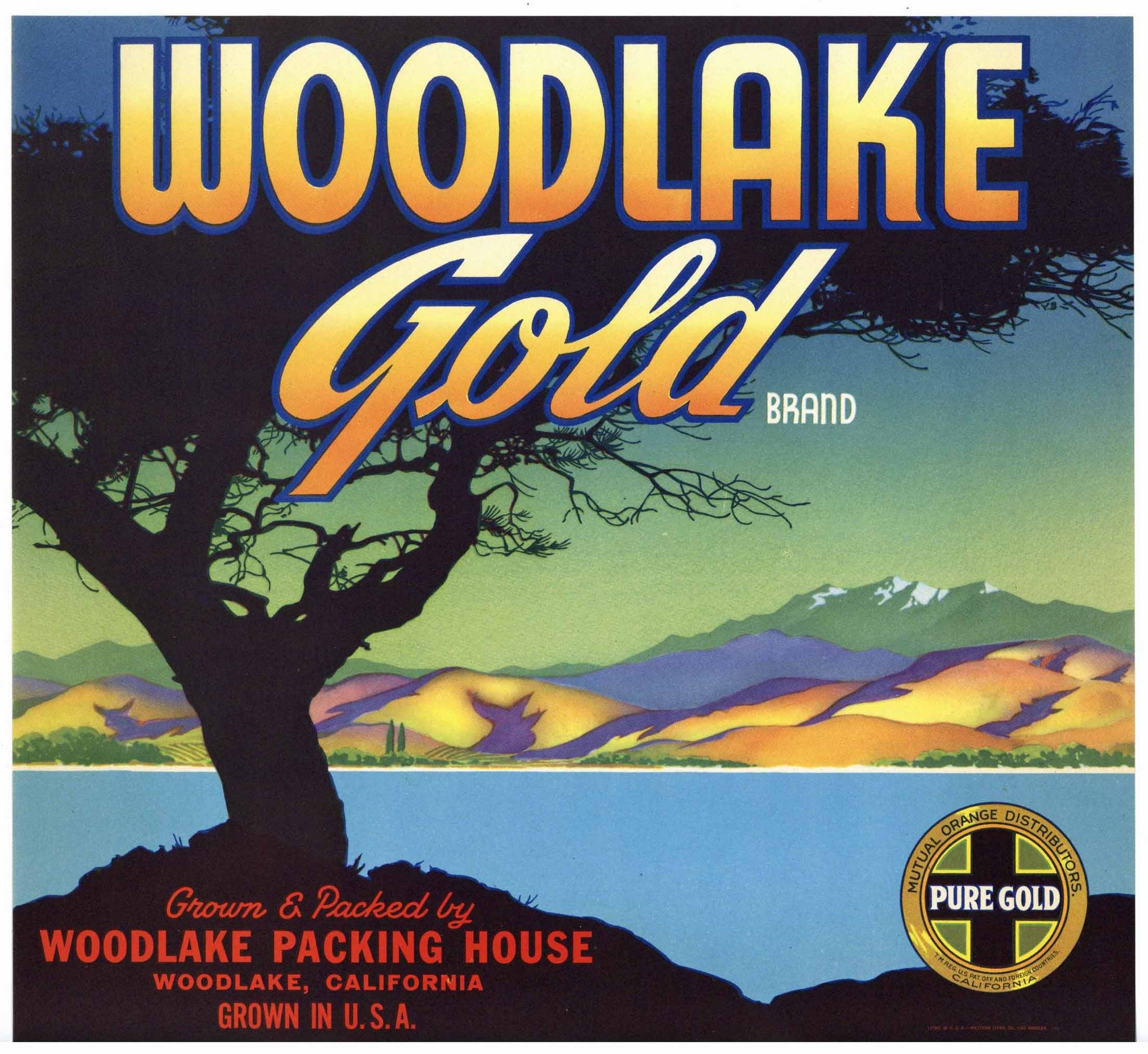 Woodlake Gold Brand Vintage Orange Crate Label