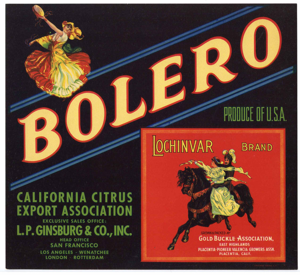 Bolero Brand Vintage Orange Crate Label, Lochinvar Inset