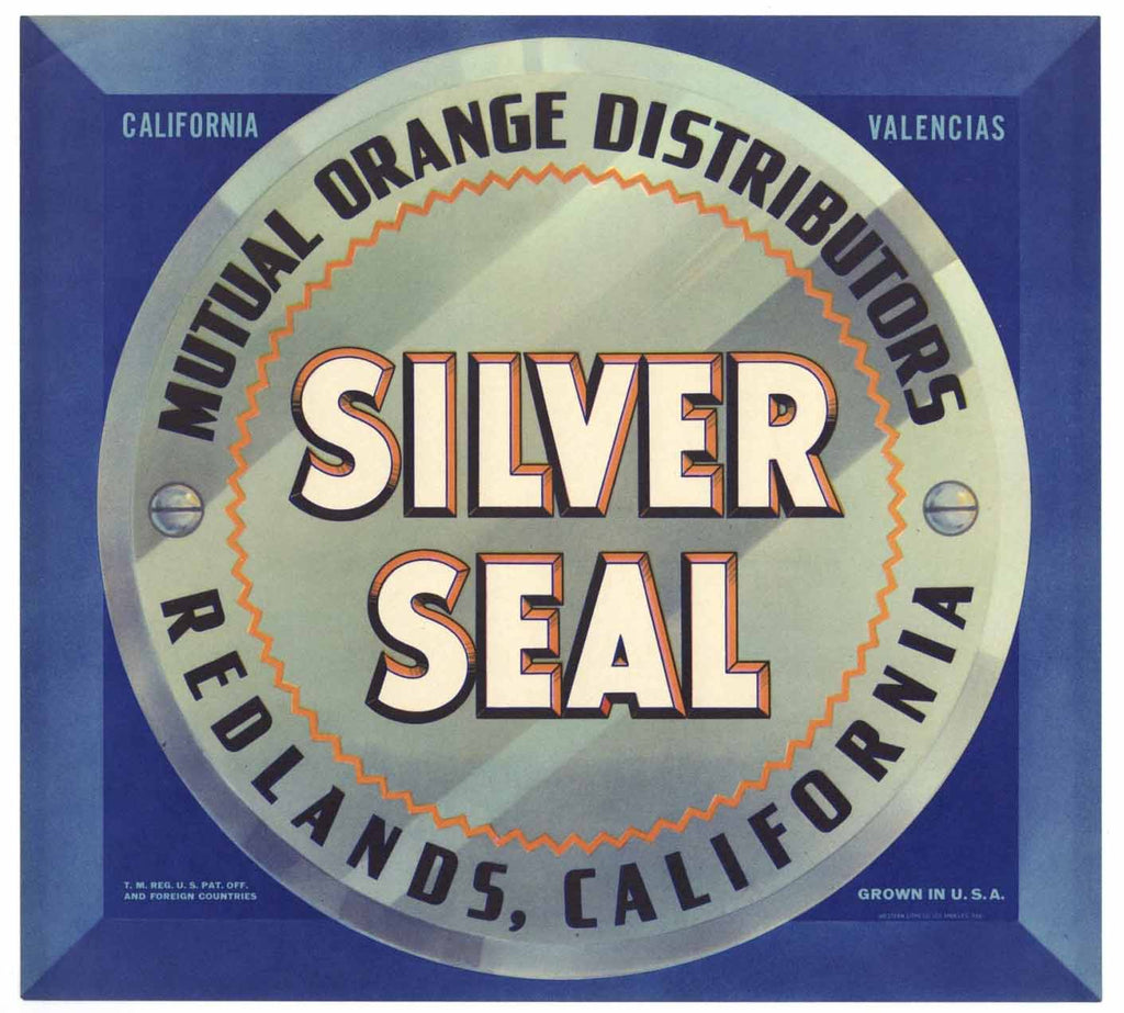 Silver Seal Brand Vintage Redlands Orange Crate Label
