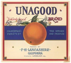 Unagood Brand Vintage Orange Crate Label