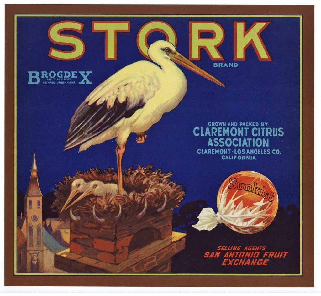 Stork Brand Vintage Claremont Orange Crate Label