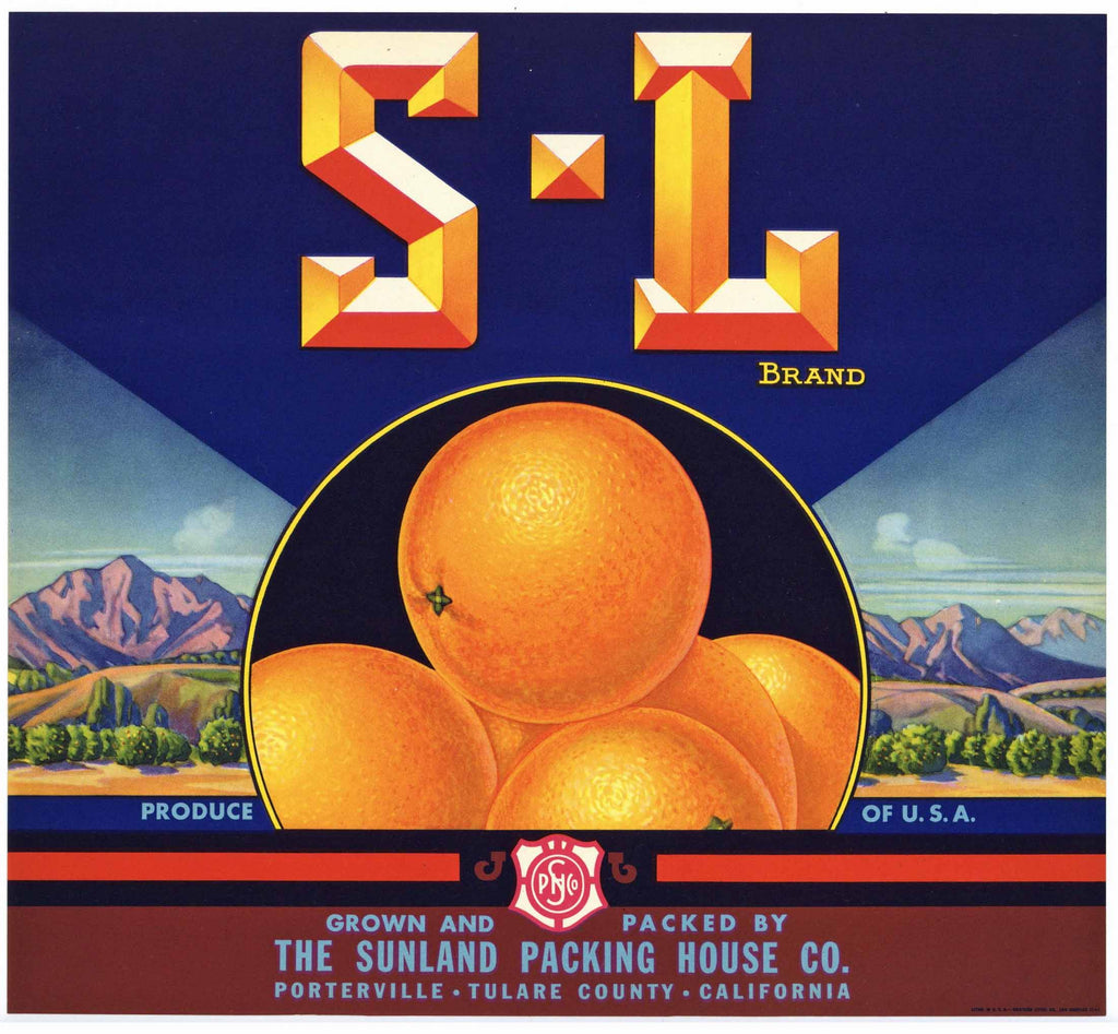 S - L Brand Vintage Tulare County Orange Crate Label