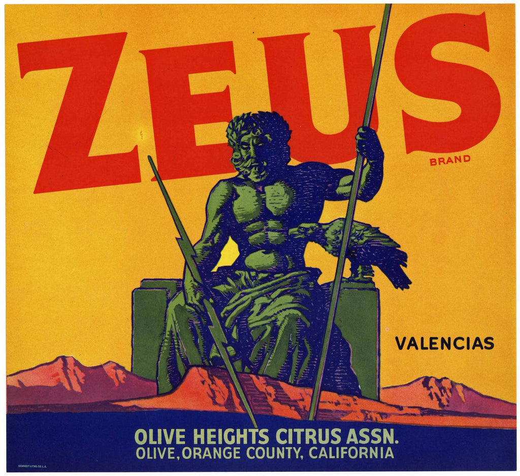 Zeus Brand Vintage Orange Crate Label, Orange County