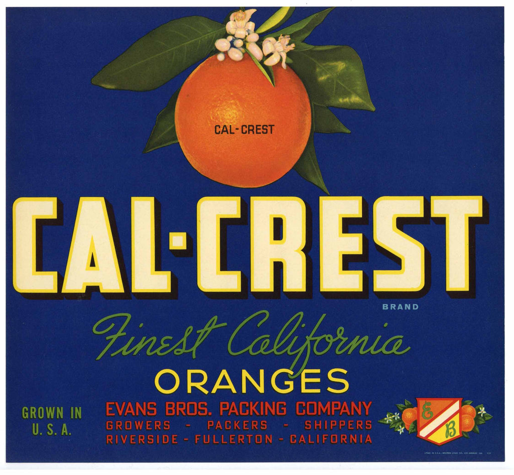 Cal-Crest Brand Vintage Orange Crate Label