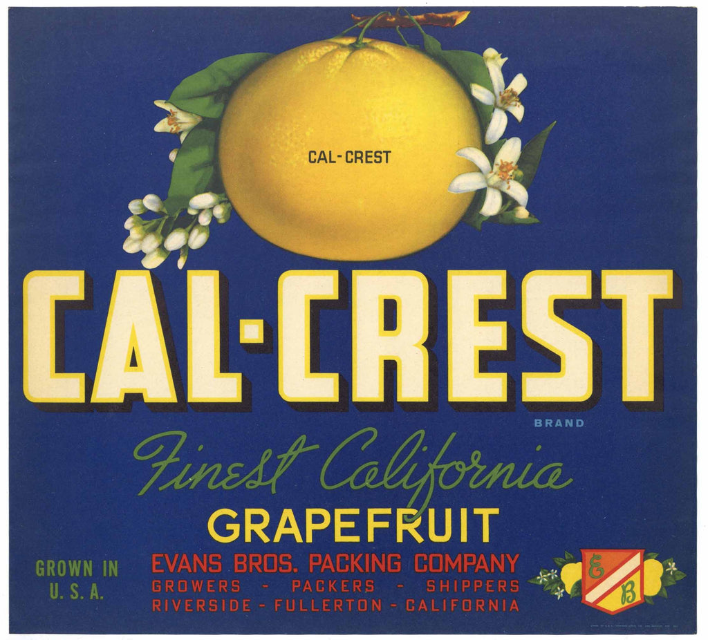 Cal-Crest Brand Vintage Grapefruit Crate Label