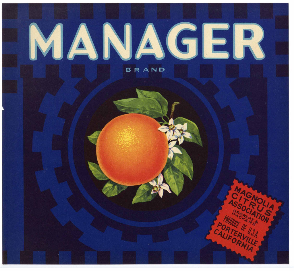 Manager Brand Vintage Orange Crate Label, nick