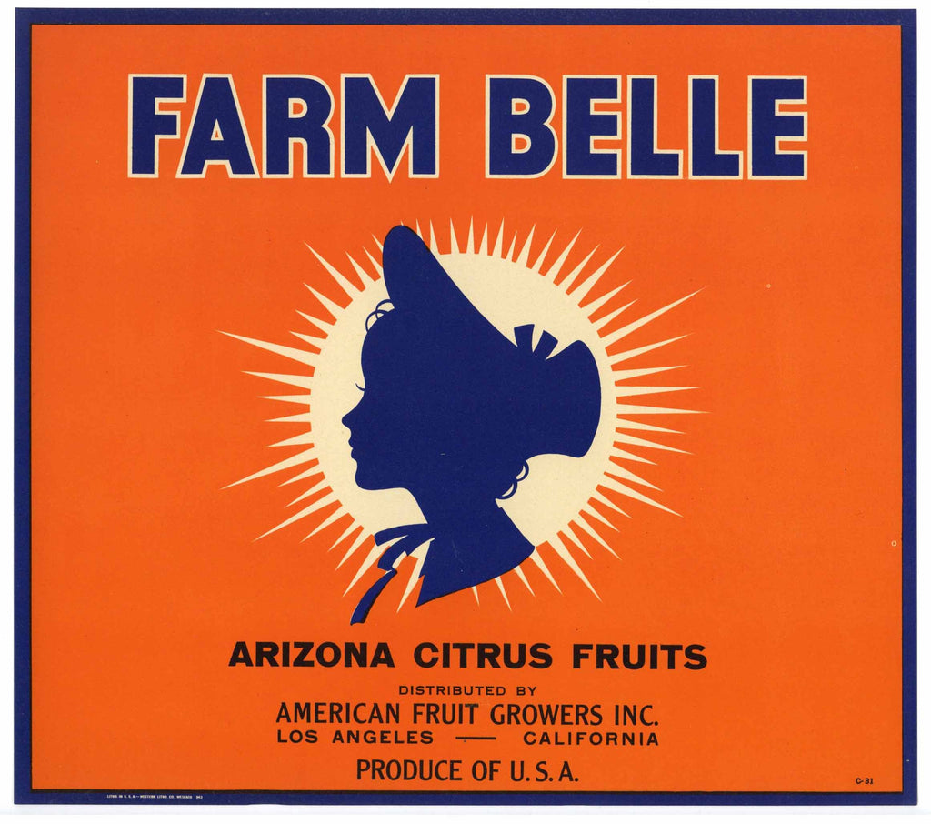Farm Belle Brand Vintage Arizona Orange Crate Label