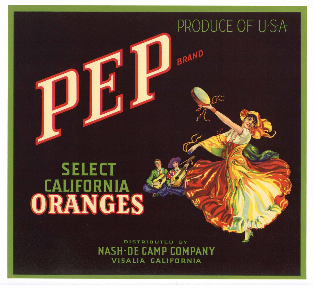 Pep Brand Vintage Orange Crate Label