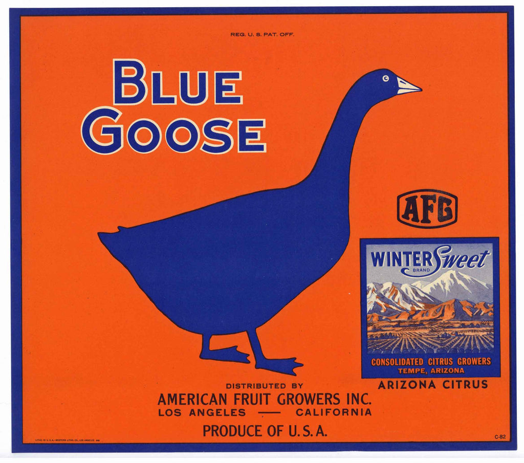 Blue Goose Brand Vintage Arizona Orange Crate Label, Winter Sweet