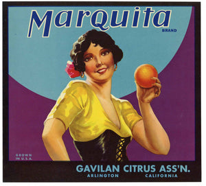 Marquita Brand Vintage Arlington Orange Crate Label