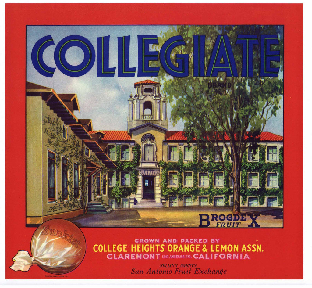 Collegiate Brand Vintage Claremont Orange Crate Label