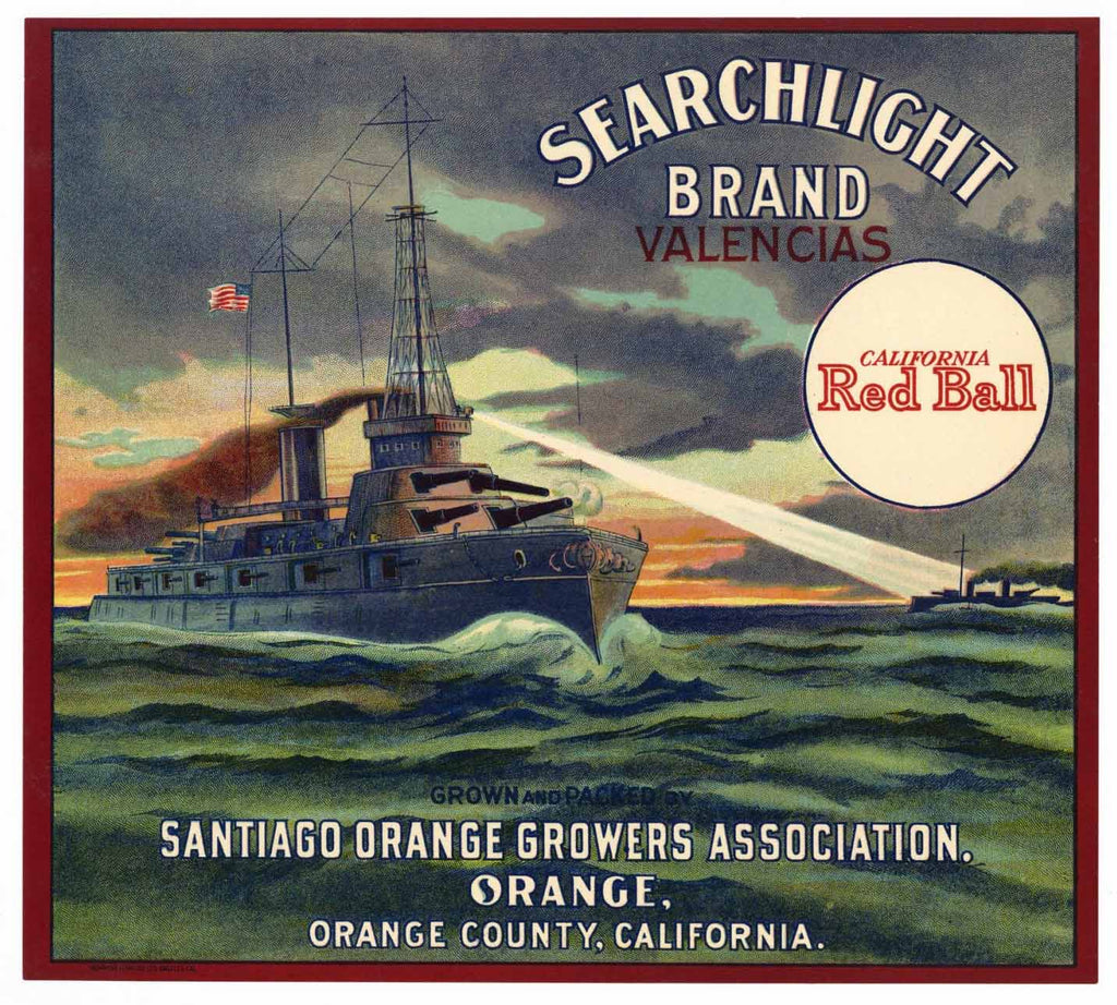 Searchlight Brand Vintage Orange Crate Label