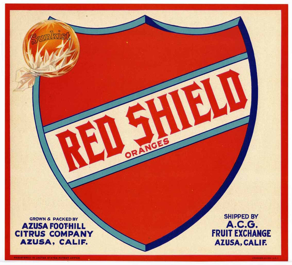 Red Shield Brand Vintage Azusa Orange Crate Label