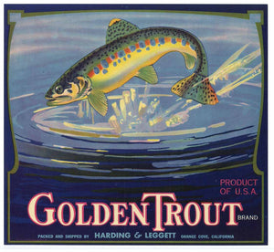 Golden Trout Brand Vintage Tulare County Orange Crate Label