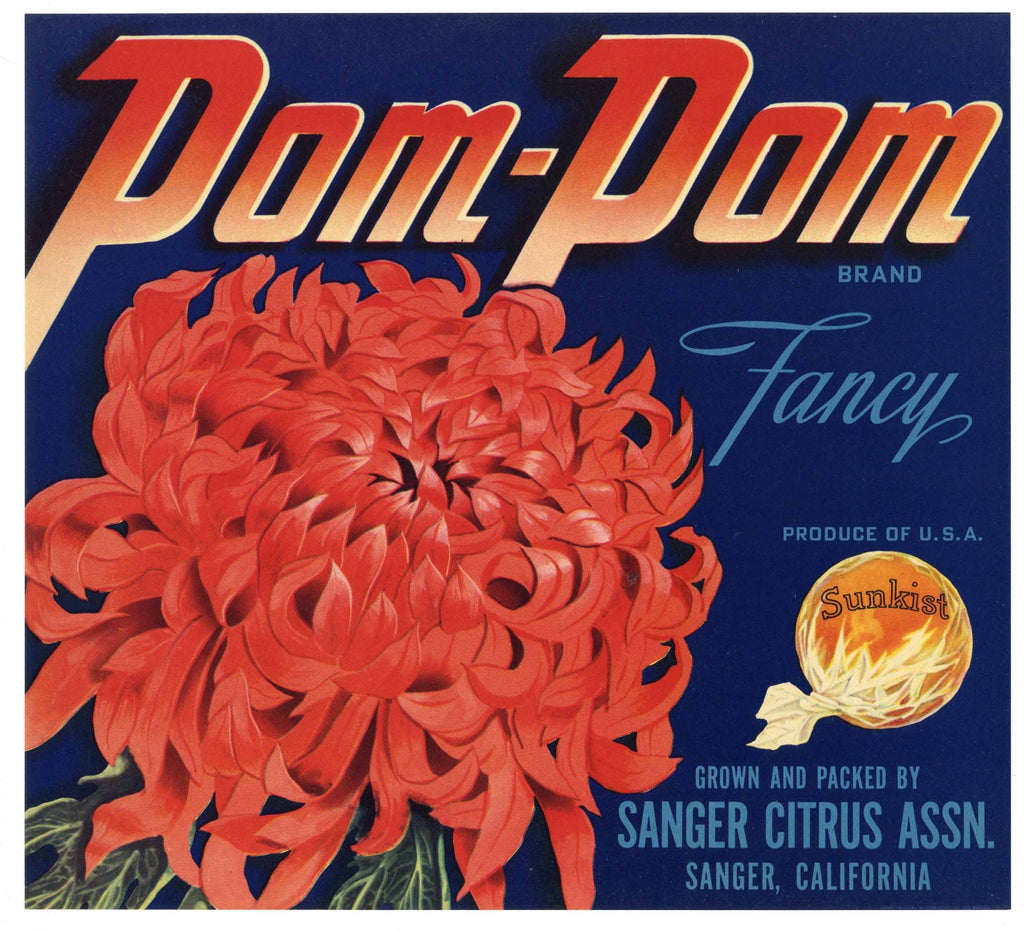 Pom Pom Brand Vintage Sanger Orange Crate Label