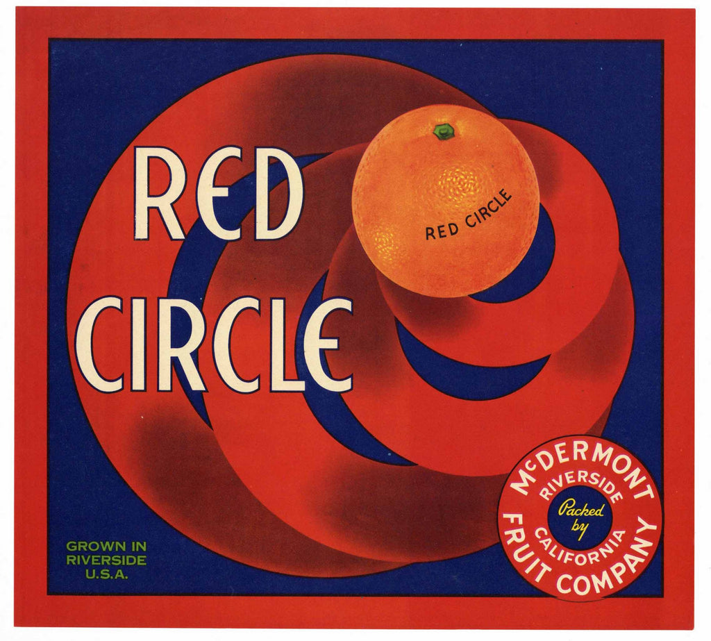 Red Circle Brand Vintage Riverside Orange Crate Label