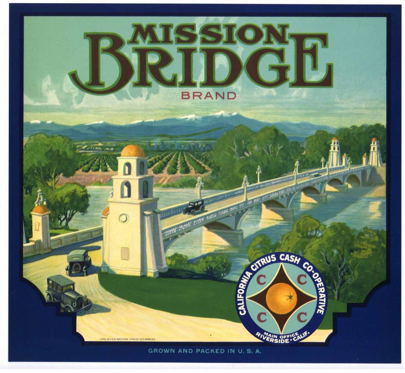 Mission Bridge Brand Vintage Riverside Orange Crate Label