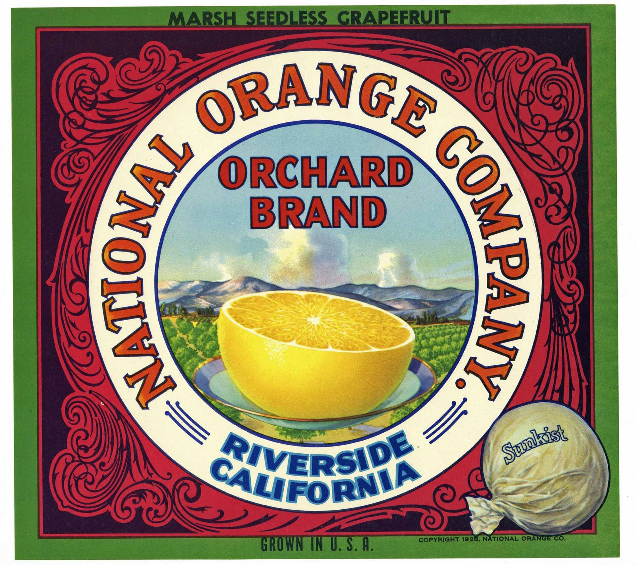 Orchard Brand Vintage Riverside Grapefruit Crate Label