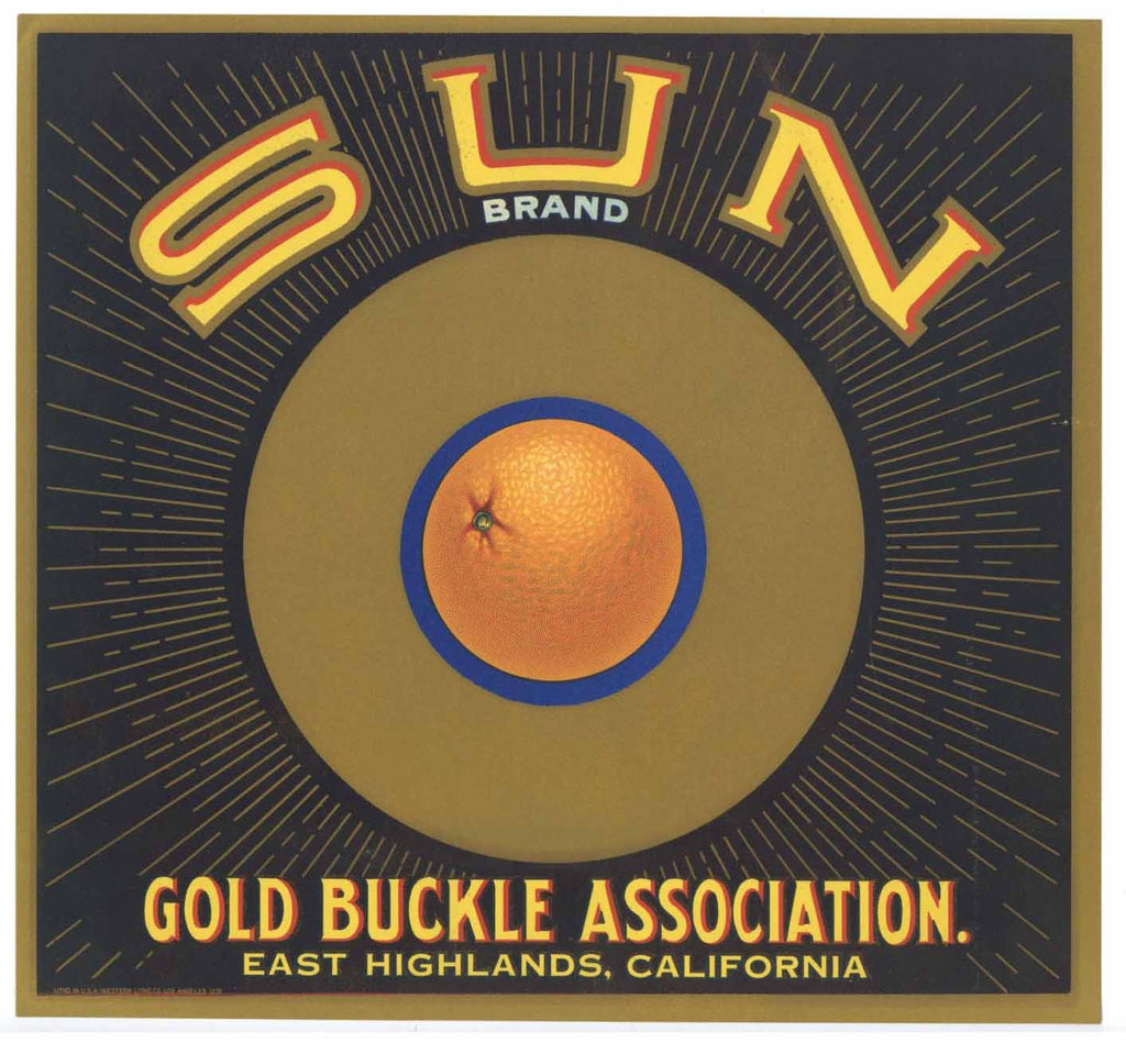 Sun Brand Vintage East Highlands Orange Crate Label r