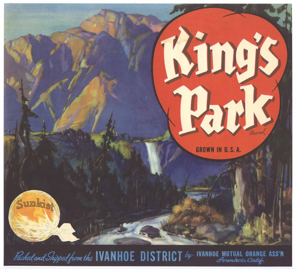 King's Park Brand Vintage Orange Crate Label