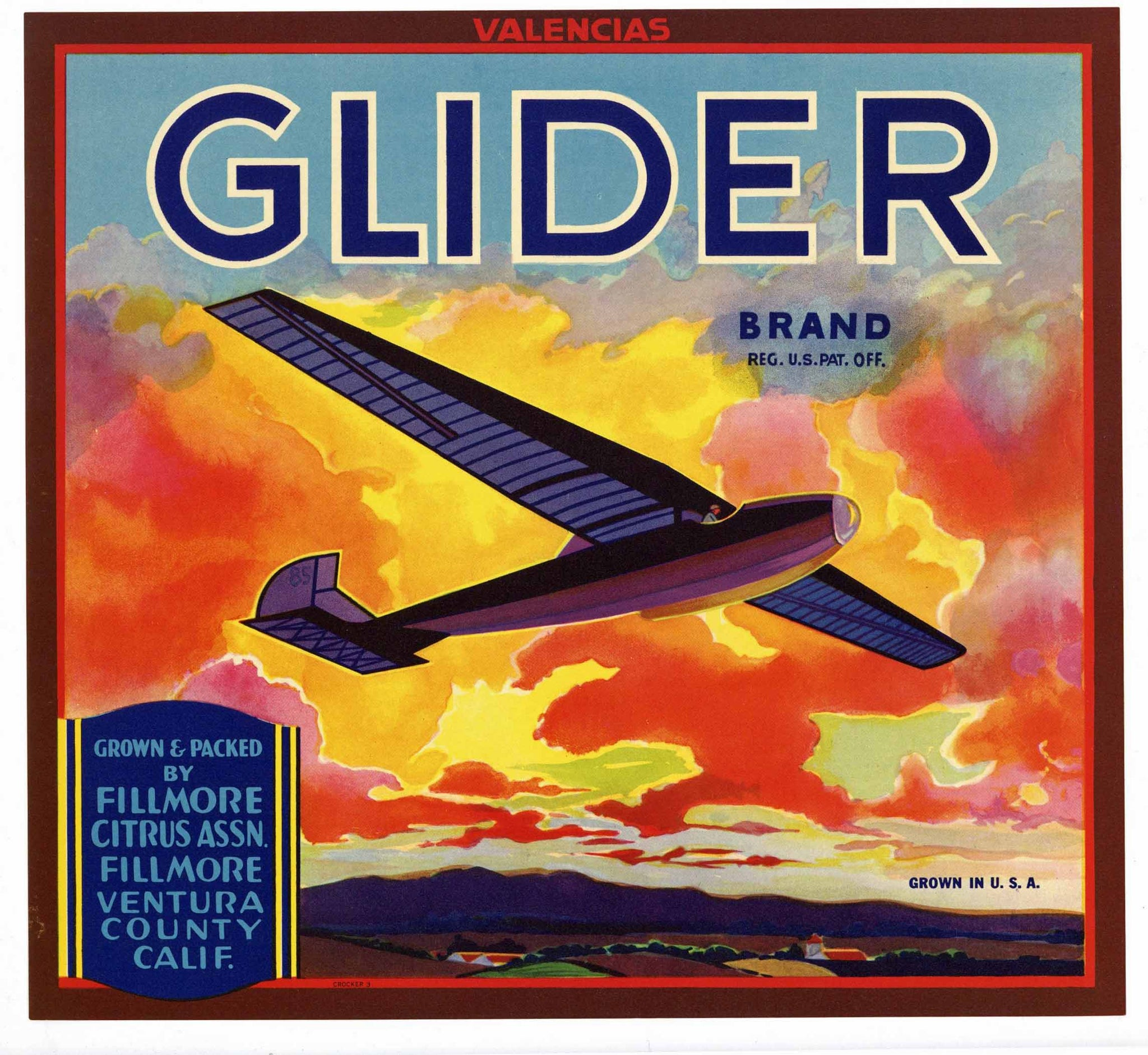 Glider Brand Vintage Fillmore Orange Crate Label, Valencias