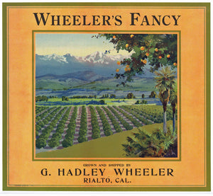 Wheeler's Fancy Brand Vintage Rialto Orange Crate Label