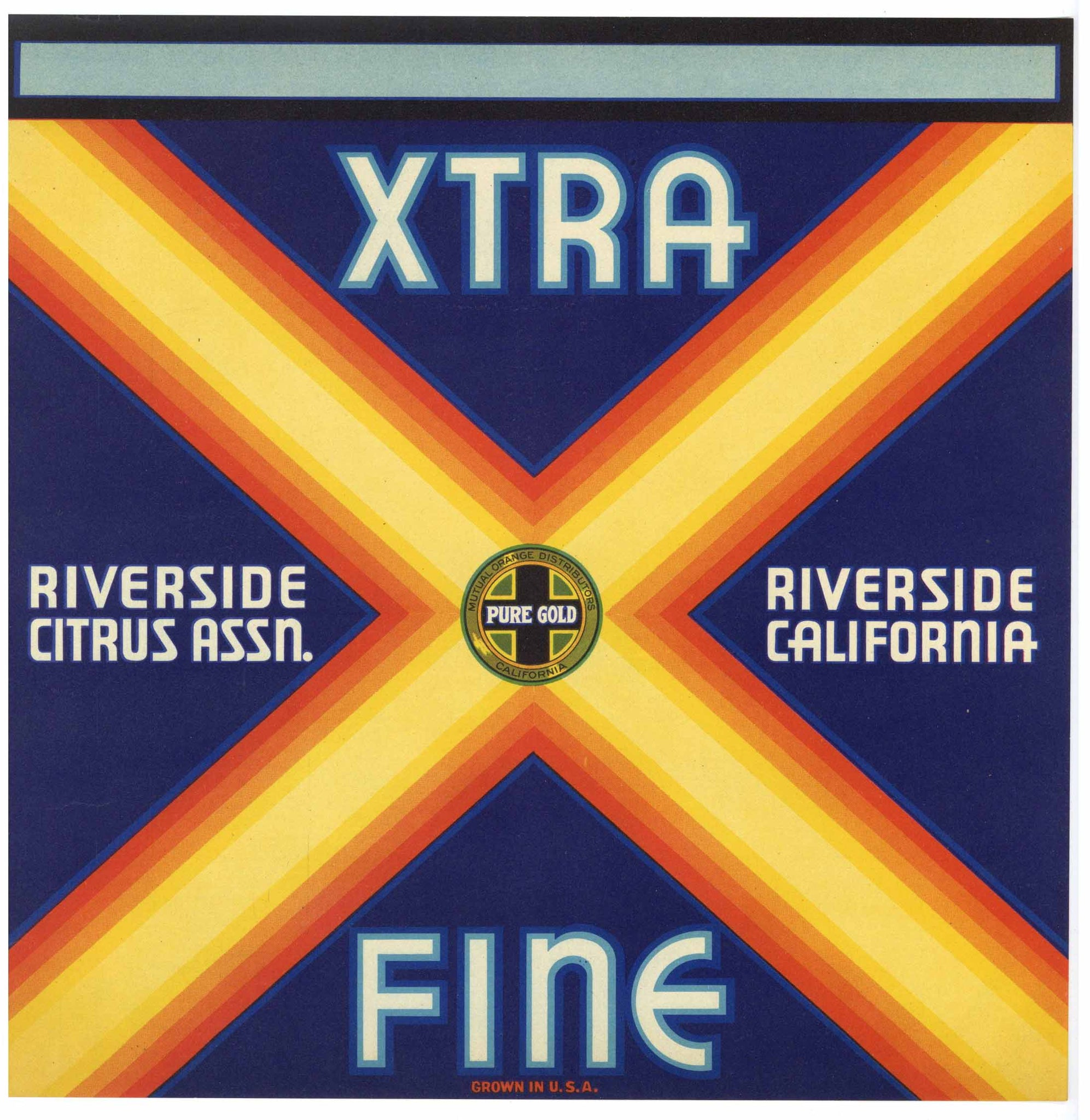 Xtra Brand Vintage Riverside California Orange Crate Label