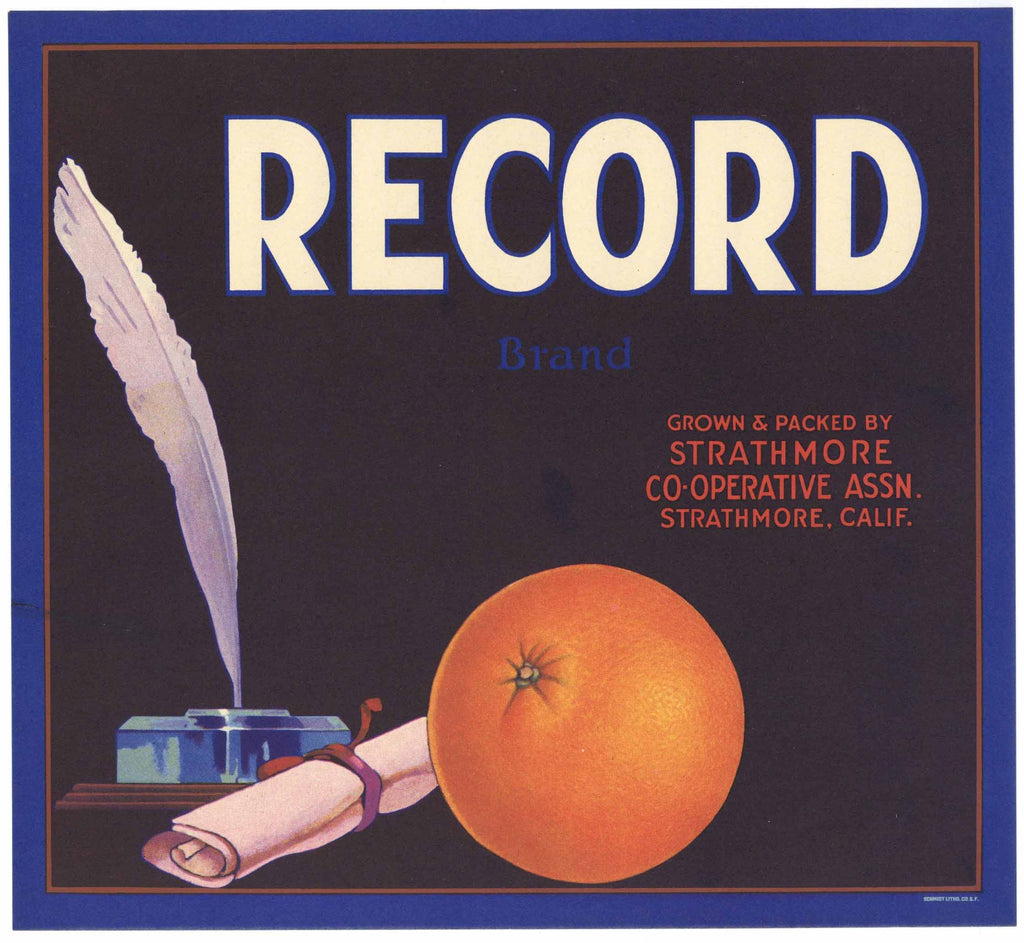 Record Brand Vintage Orange Crate Label