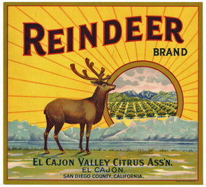 Reindeer Brand Vintage El Cajon Orange Crate Label