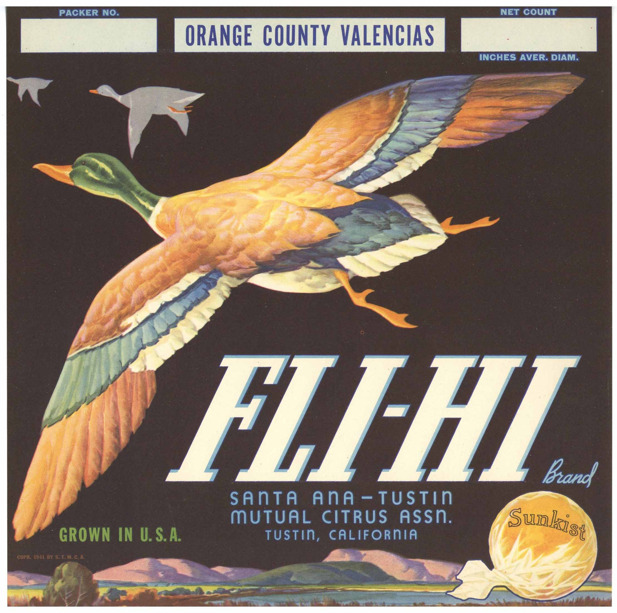 Fli-Hi Brand Vintage Tustin Orange Crate Label