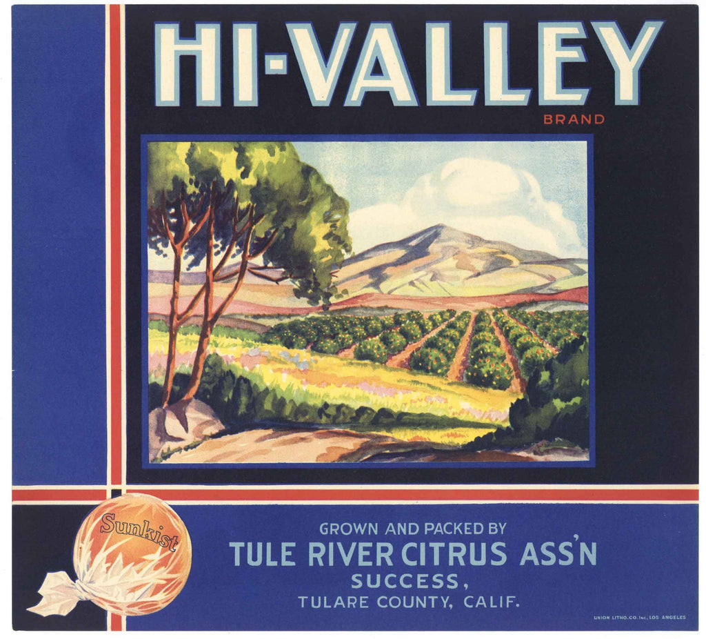 Hi-Valley Brand Vintage Tulare County Orange Crate Label