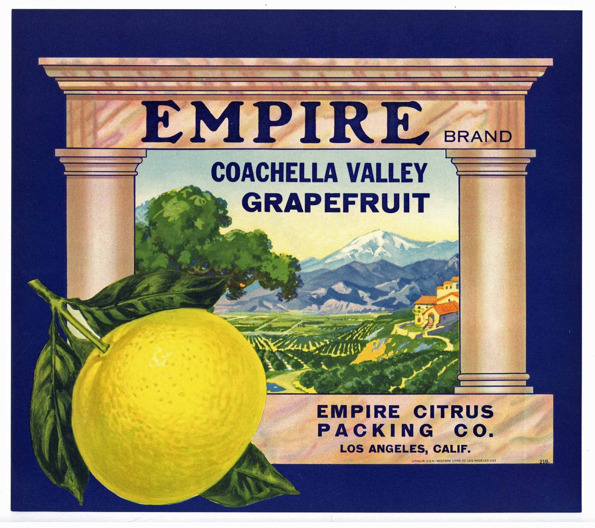 EMPIRE Brand Vintage Grapefruit Crate Label (o816)