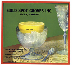 Gold Spot Groves Inc. Brand Vintage Mesa Arizona Grapefruit Crate Label