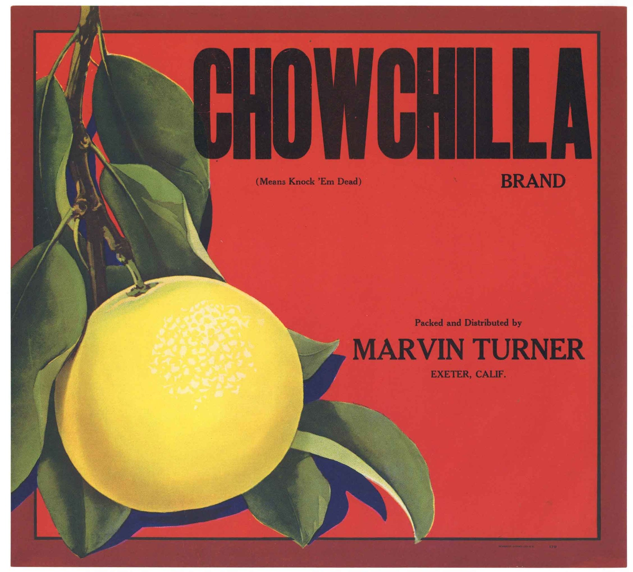 Chowchilla Brand Vintage Exeter Grapefruit Crate Label