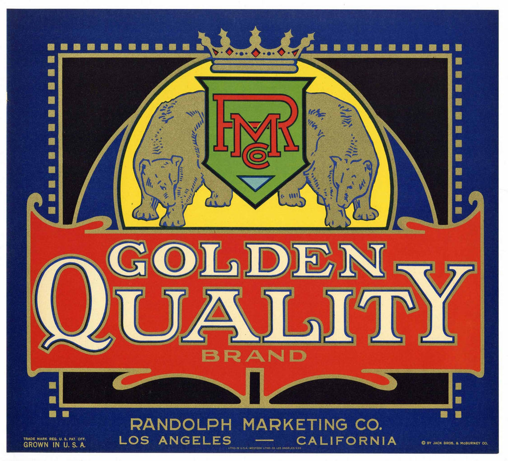 Golden Quality Brand Vintage Orange Crate Label