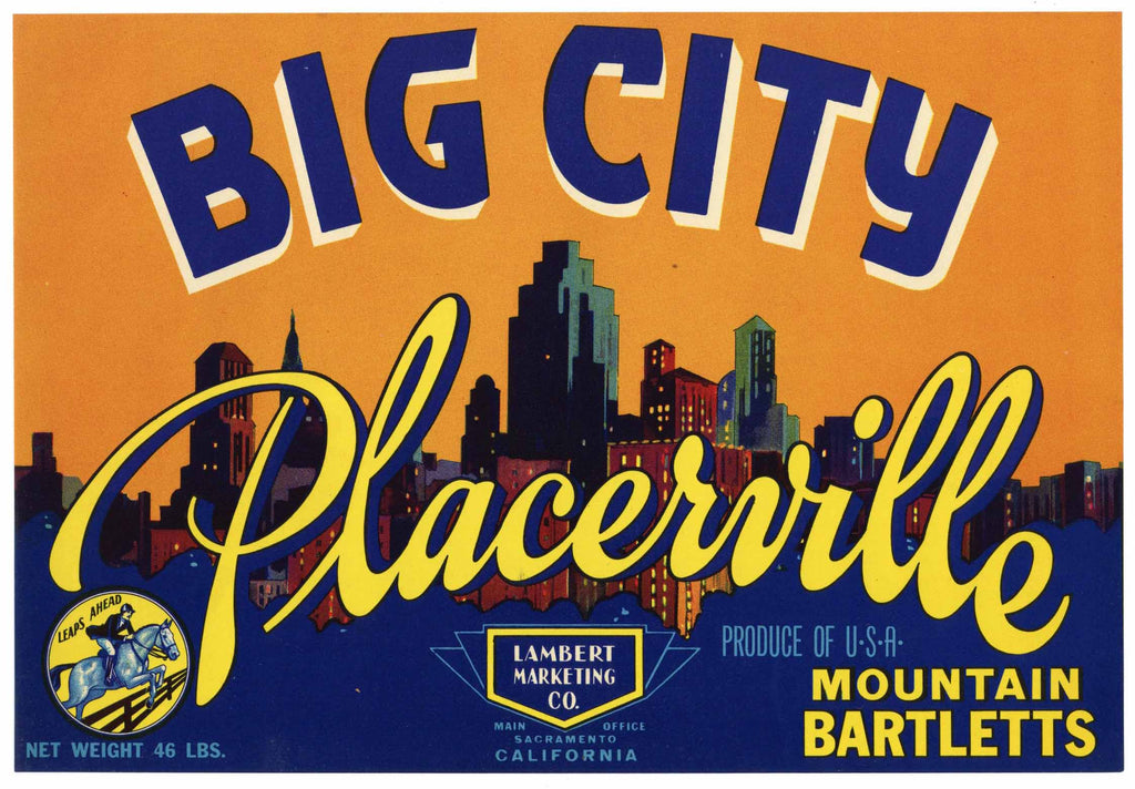 Big City Brand Vintage Placerville Pear Crate Label