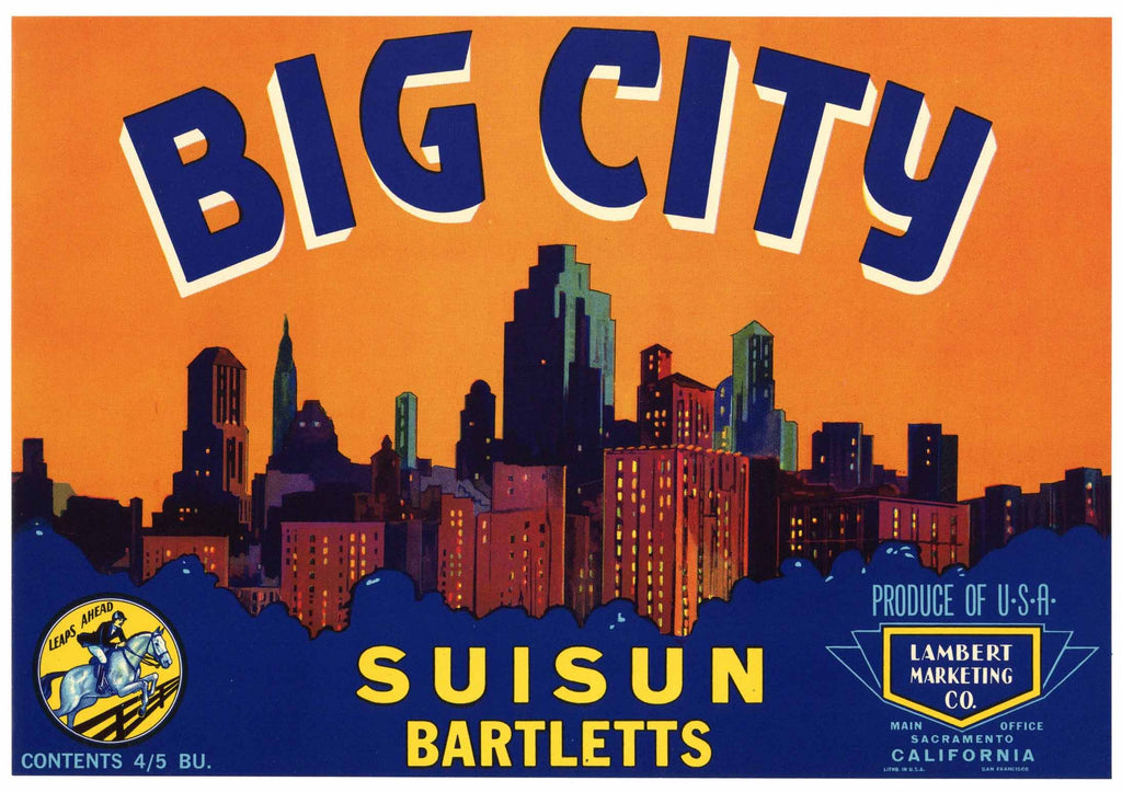 Big City Brand Vintage Suisun Pear Crate Label