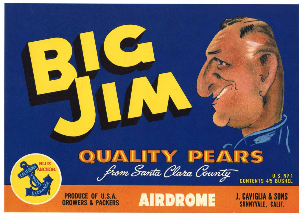 Big Jim Brand Vintage Santa Clara Valley Pear Crate Label