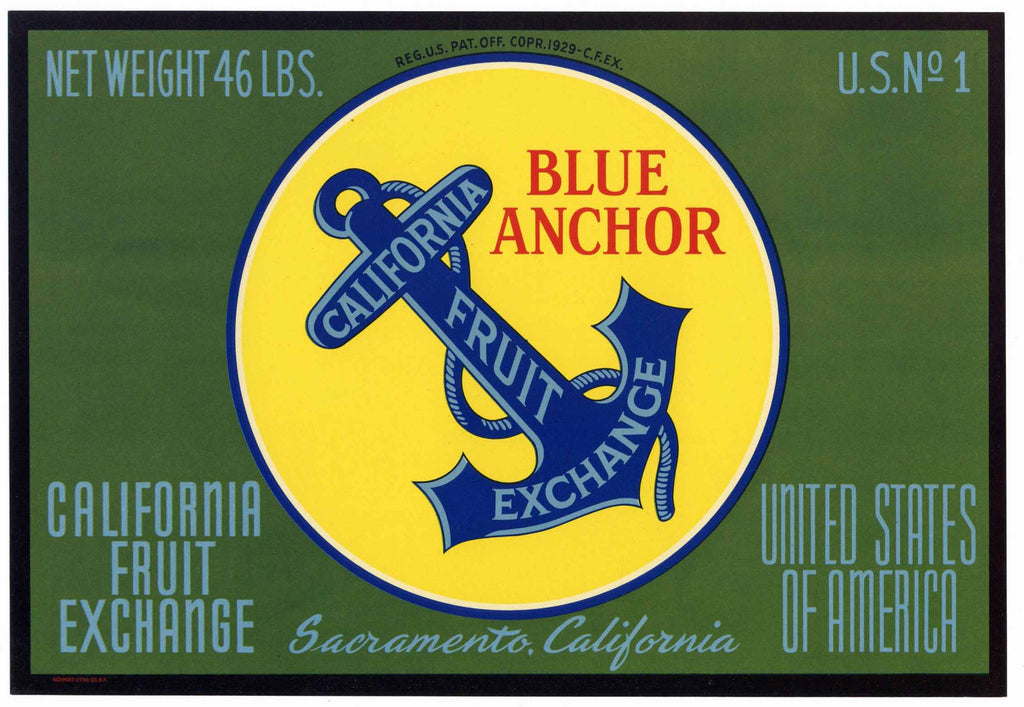 Bue Anchor Brand Vintage California Fruit Exchange Pear Crate Label